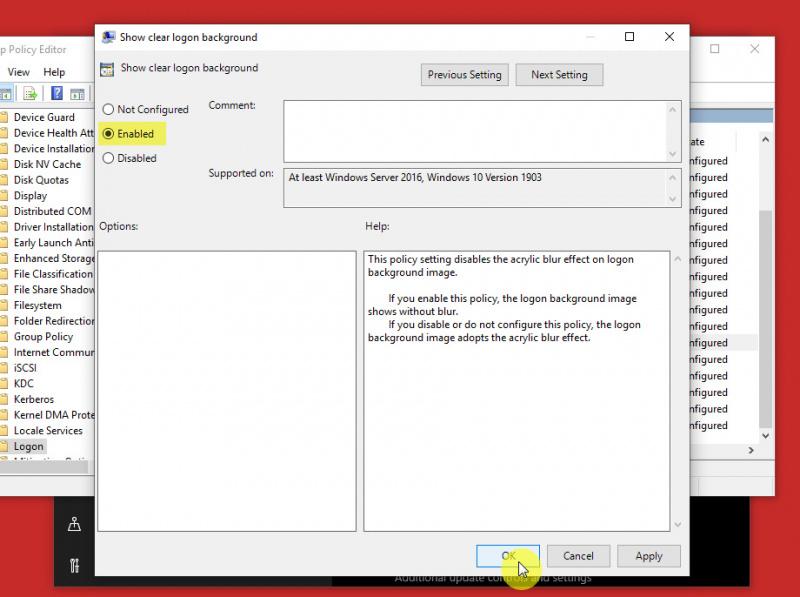 Mematikan Efek Blur pada Layar Sign-in Windows 10 (19H1) (3)