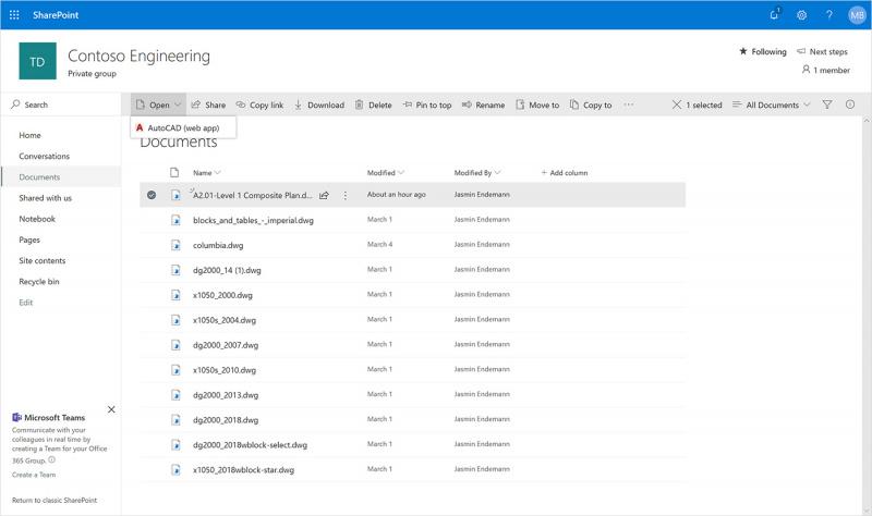 Microsoft Umumkan Integrasi Onedrive dan Sharepoint Dengan Dukungan AutoCAD!