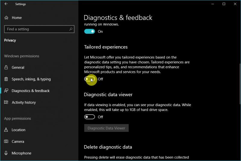 Cara Mengaktifkan/Mematikan Tailored Experiences di Windows 10