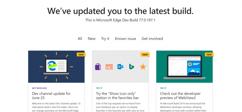 Microsoft Edge Dev Channel Build 77.0.197.1 Dirilis Dengan Peningkatan Dark Mode!