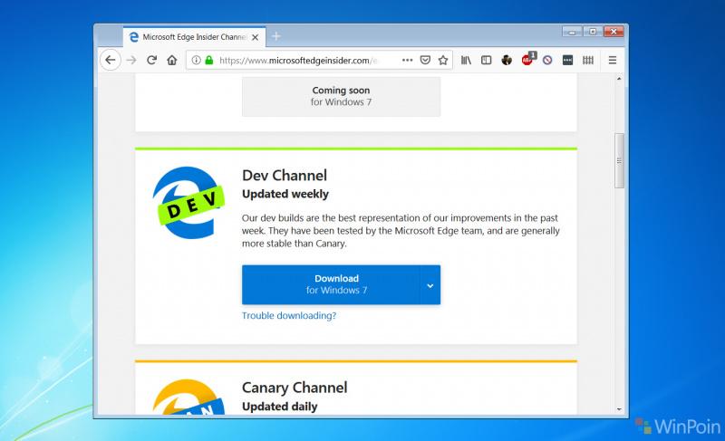 Mencoba Microsoft Edge Berbasis Chromium di Windows 7 - Bagus?