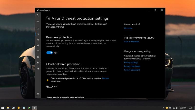 Lokasi Anda bisa mematikan disable Windows defender dibagian Setting dan pilih virus protection settings